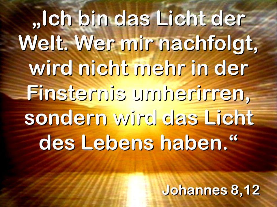 Johannes 8,12 Ich bin das Licht der Welt. Wer mir nachfolgt, wird nicht mehr in der Finsternis umherirren, sondern wird das Licht des Lebens haben.