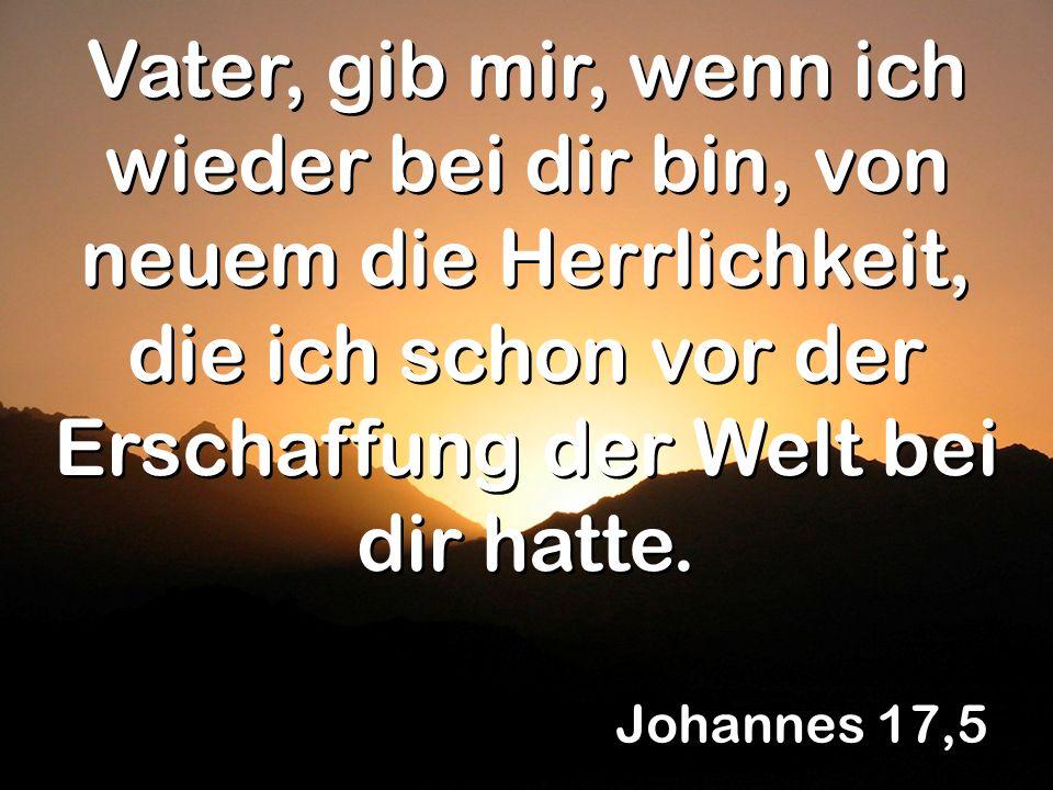 Johannes 17,5 Vater, gib mir, wenn ich wieder bei dir bin, von neuem die Herrlichkeit, die ich schon vor der Erschaffung der Welt bei dir hatte.
