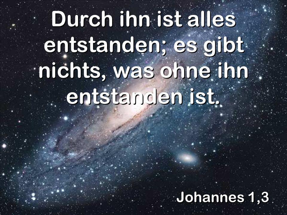 Johannes 1,3 Durch ihn ist alles entstanden; es gibt nichts, was ohne ihn entstanden ist.