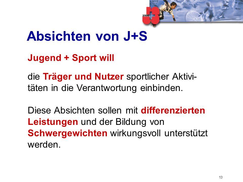 13 Absichten von J+S Jugend + Sport will die Träger und Nutzer sportlicher Aktivi- täten in die Verantwortung einbinden. Diese Absichten sollen mit di