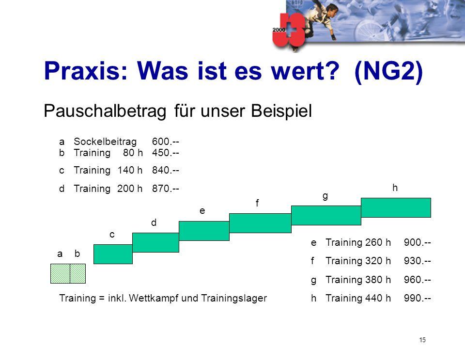 15 Praxis: Was ist es wert? (NG2) Pauschalbetrag für unser Beispiel ab f e g h c d Training = inkl. Wettkampf und Trainingslager eTraining 260 h900.--