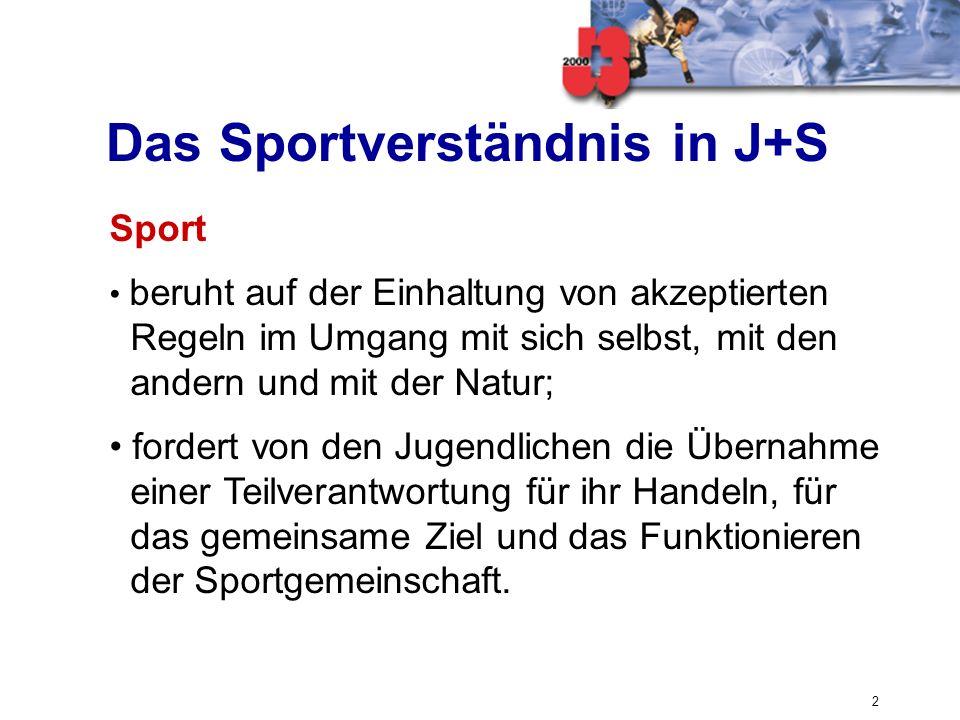 2 Das Sportverständnis in J+S Sport beruht auf der Einhaltung von akzeptierten Regeln im Umgang mit sich selbst, mit den andern und mit der Natur; for