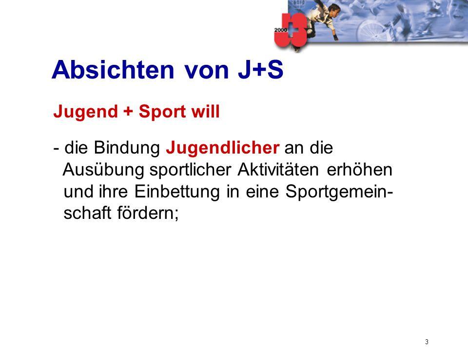 3 Absichten von J+S Jugend + Sport will - die Bindung Jugendlicher an die Ausübung sportlicher Aktivitäten erhöhen und ihre Einbettung in eine Sportge
