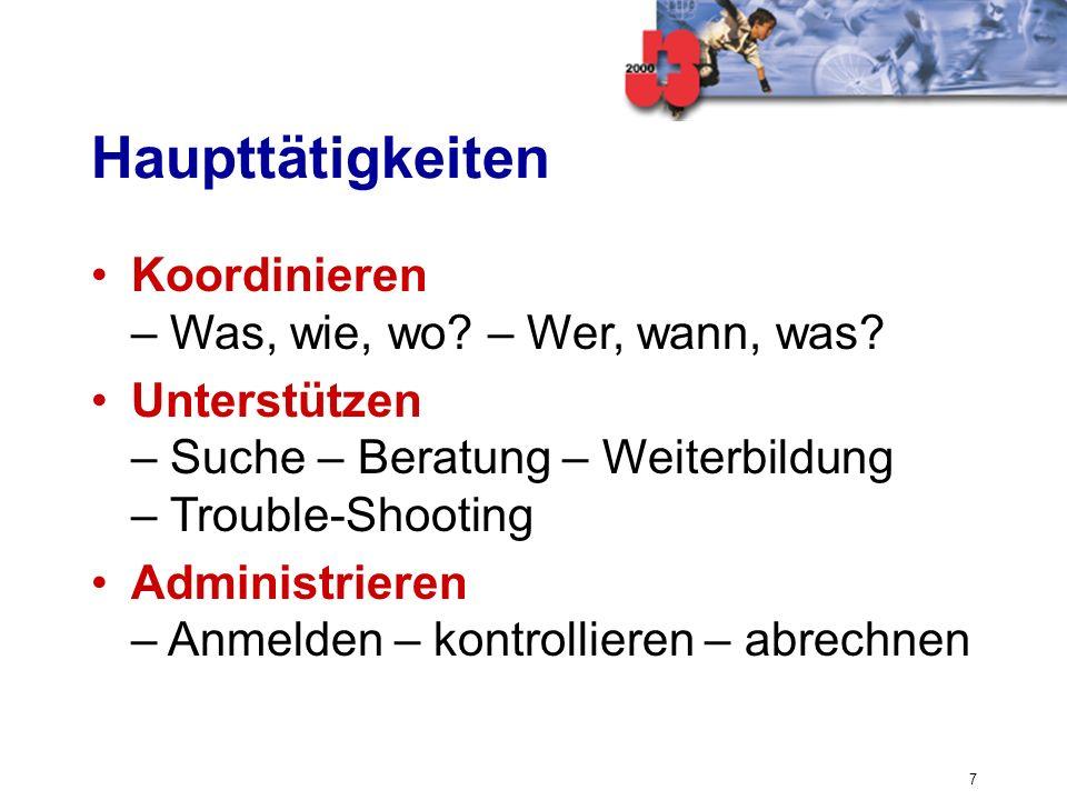 7 Haupttätigkeiten Koordinieren – Was, wie, wo? – Wer, wann, was? Unterstützen – Suche – Beratung – Weiterbildung – Trouble-Shooting Administrieren –