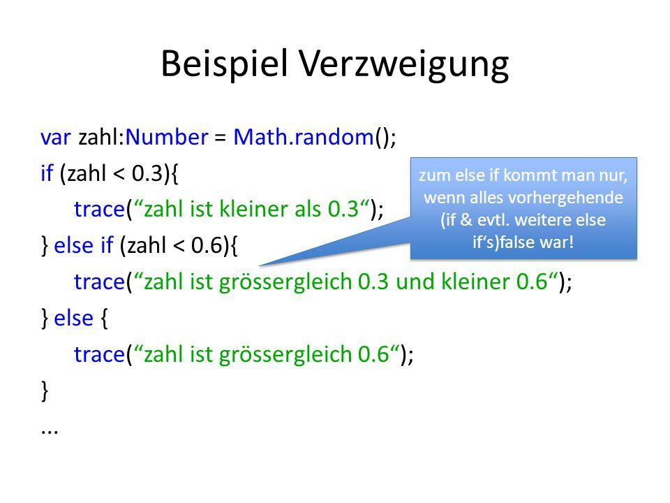 Beispiel Verzweigung var zahl:Number = Math.random(); if (zahl < 0.3){ trace(zahl ist kleiner als 0.3); } else if (zahl < 0.6){ trace(zahl ist grössergleich 0.3 und kleiner 0.6); } else { trace(zahl ist grössergleich 0.6); }...