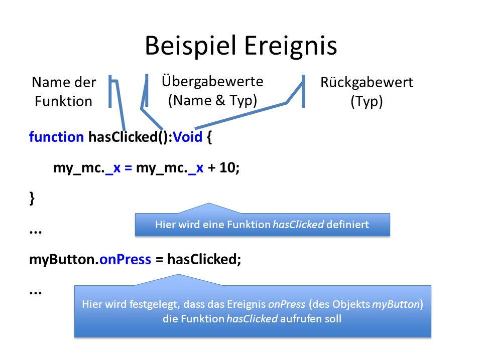 Beispiel Ereignis function hasClicked():Void { my_mc._x = my_mc._x + 10; }... myButton.onPress = hasClicked;... Name der Funktion Übergabewerte (Name