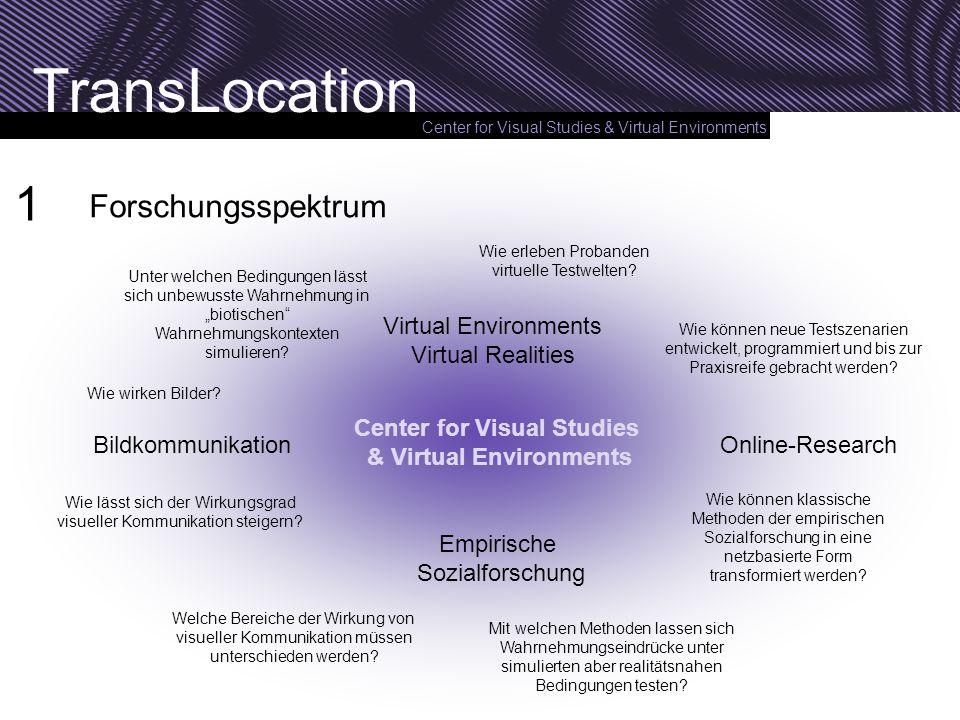 Center for Visual Studies & Virtual Environments TransLocation Forschungsspektrum Wie wirken Bilder? Wie lässt sich der Wirkungsgrad visueller Kommuni