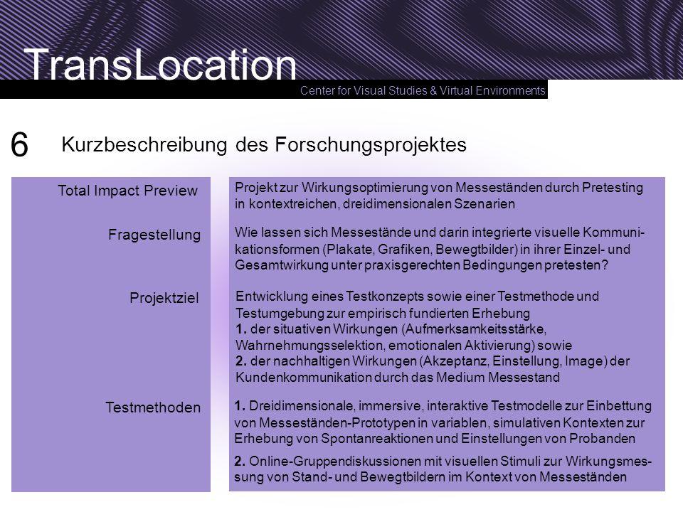 Center for Visual Studies & Virtual Environments TransLocation Kurzbeschreibung des Forschungsprojektes Projekt zur Wirkungsoptimierung von Messeständ