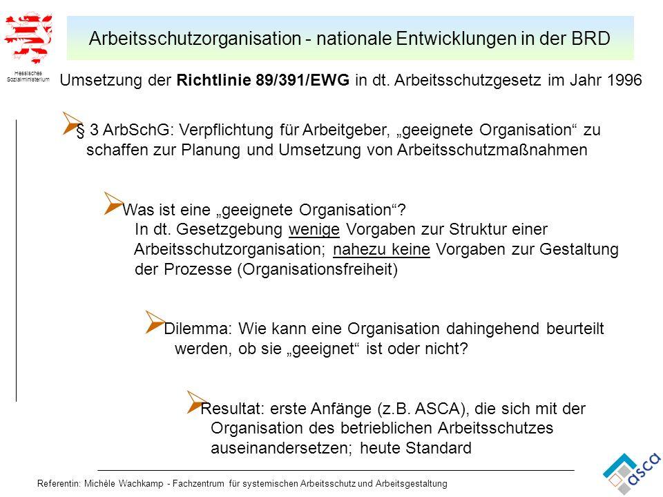 Hessisches Sozialministerium Referentin: Michèle Wachkamp - Fachzentrum für systemischen Arbeitsschutz und Arbeitsgestaltung Arbeitsschutzorganisation