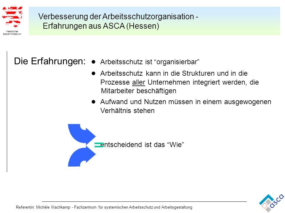 Hessisches Sozialministerium Referentin: Michèle Wachkamp - Fachzentrum für systemischen Arbeitsschutz und Arbeitsgestaltung Verbesserung der Arbeitss