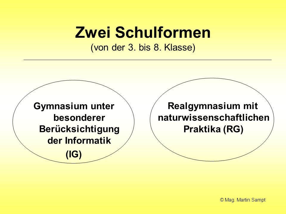 Zwei Schulformen (von der 3.bis 8.