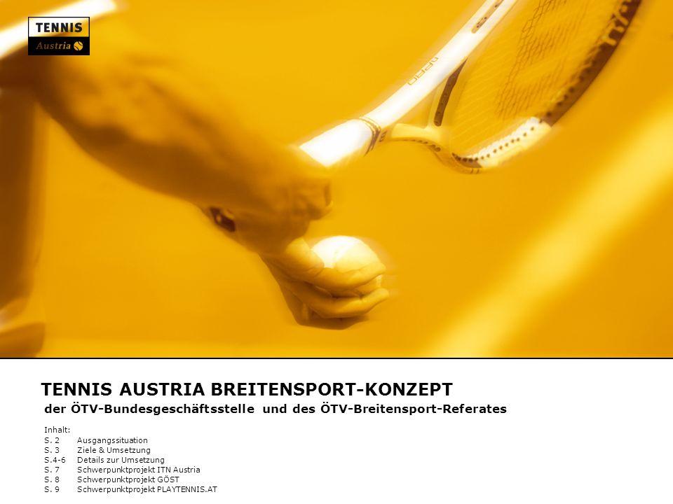 TENNIS AUSTRIA BREITENSPORT-KONZEPT der ÖTV-Bundesgeschäftsstelle und des ÖTV-Breitensport-Referates Inhalt: S. 2Ausgangssituation S. 3Ziele & Umsetzu
