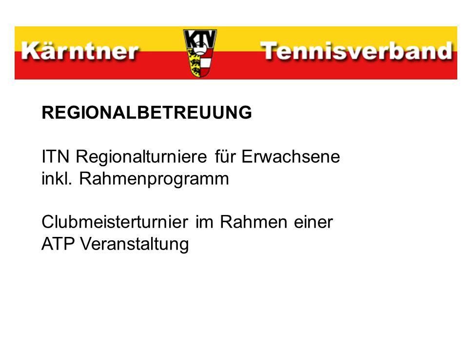 REGIONALBETREUUNG ITN Regionalturniere für Erwachsene inkl. Rahmenprogramm Clubmeisterturnier im Rahmen einer ATP Veranstaltung
