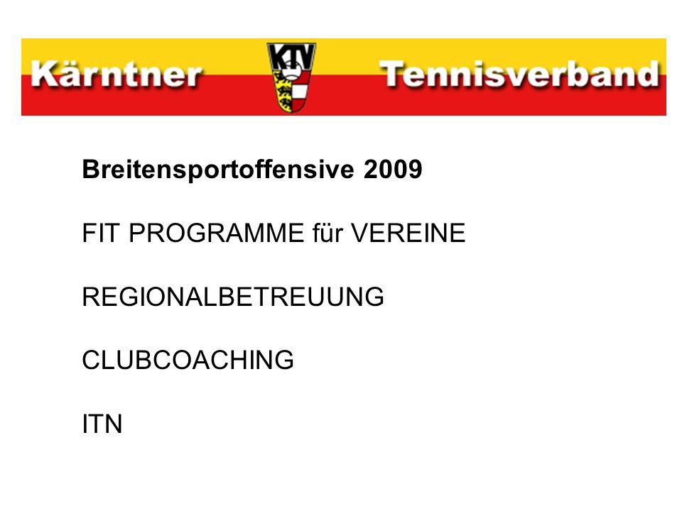 Breitensportoffensive 2009 FIT PROGRAMME für VEREINE REGIONALBETREUUNG CLUBCOACHING ITN