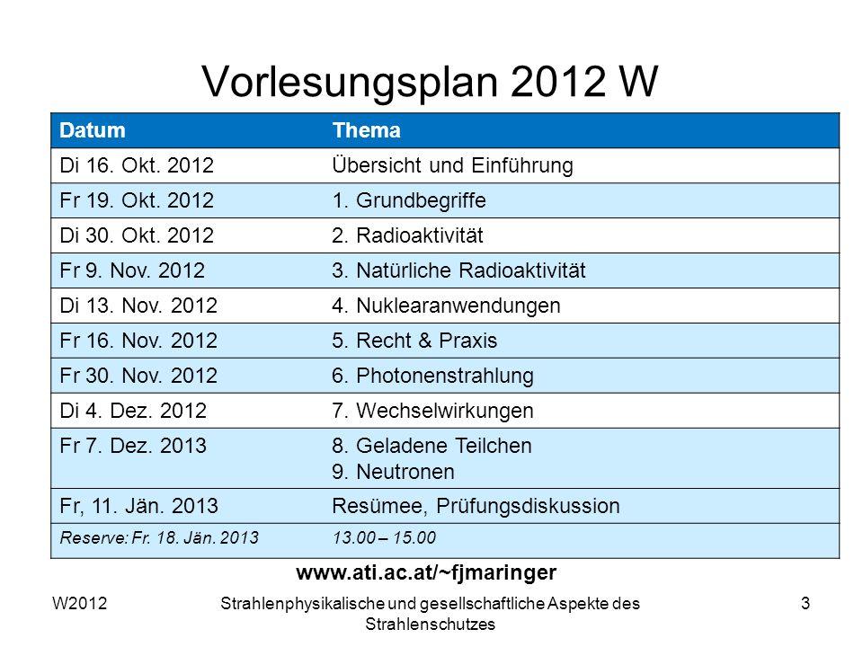 W2012Strahlenphysikalische und gesellschaftliche Aspekte des Strahlenschutzes 3 Vorlesungsplan 2012 W www.ati.ac.at/~fjmaringer DatumThema Di 16. Okt.