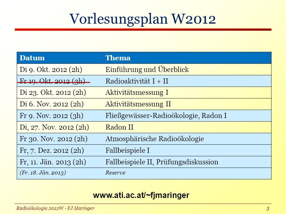 Radioökologie 2012W - FJ Maringer Vorlesungsplan W2012 www.ati.ac.at/~fjmaringer 3 DatumThema Di 9.
