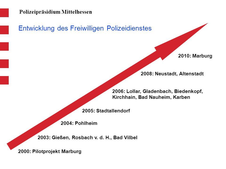 Entwicklung des Freiwilligen Polizeidienstes Polizeipräsidium Mittelhessen 2000: Pilotprojekt Marburg 2003: Gießen, Rosbach v. d. H., Bad Vilbel 2004: