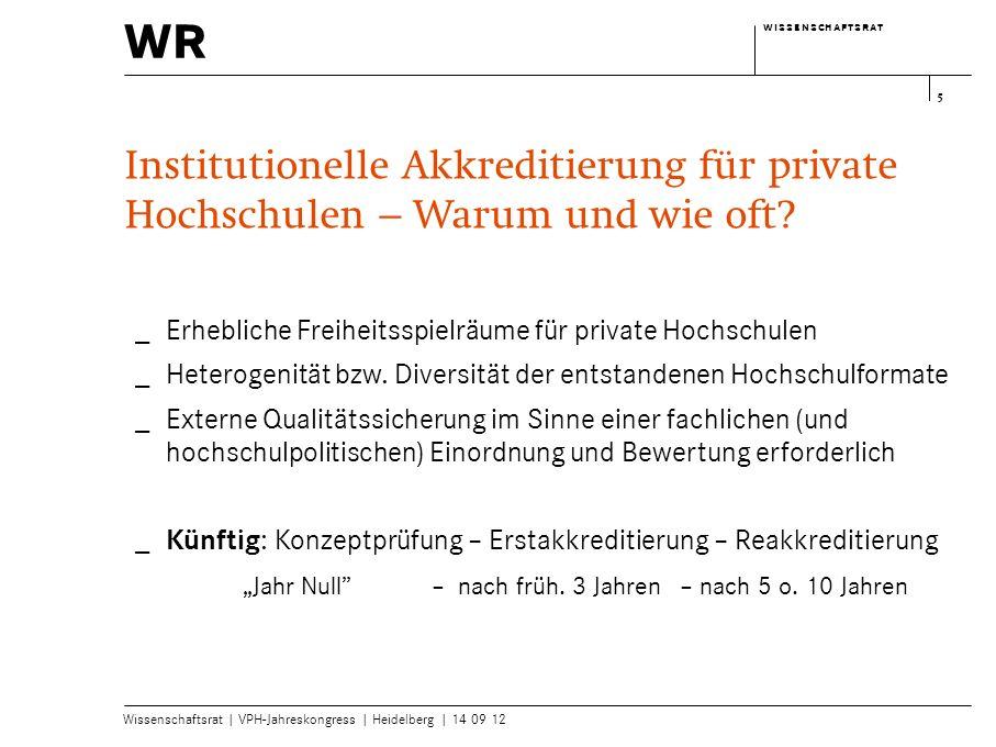 wr w i s s e n s c h a f t s r a tw i s s e n s c h a f t s r a t Wissenschaftsrat | VPH-Jahreskongress | Heidelberg | 14 09 12 5 Institutionelle Akkr