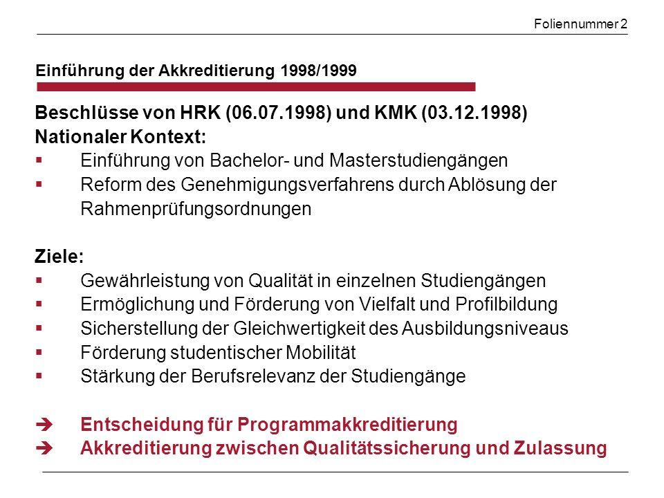 Foliennummer 2 Einführung der Akkreditierung 1998/1999 Beschlüsse von HRK (06.07.1998) und KMK (03.12.1998) Nationaler Kontext: Einführung von Bachelo