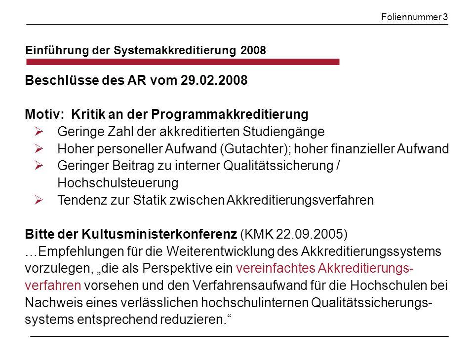Foliennummer 3 Einführung der Systemakkreditierung 2008 Beschlüsse des AR vom 29.02.2008 Motiv: Kritik an der Programmakkreditierung Geringe Zahl der