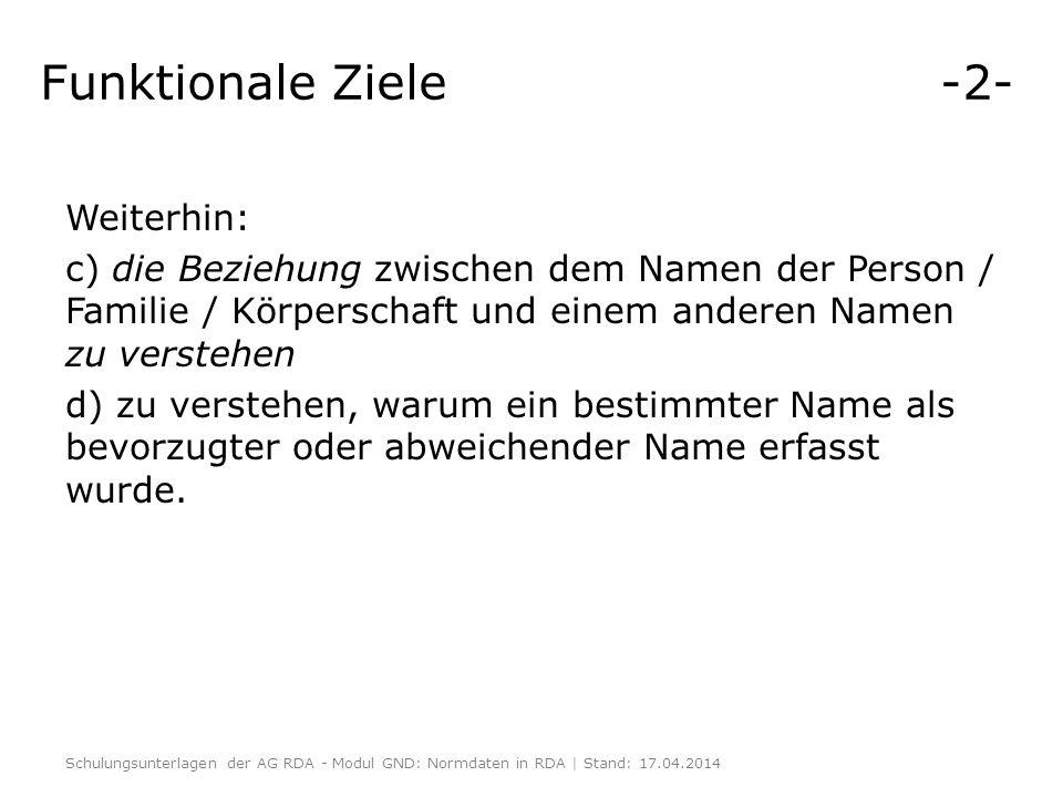 Funktionale Ziele -2- Weiterhin: c) die Beziehung zwischen dem Namen der Person / Familie / Körperschaft und einem anderen Namen zu verstehen d) zu ve