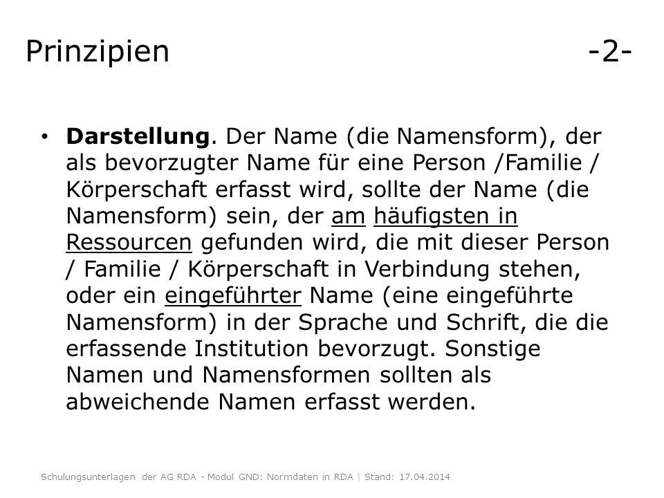 Prinzipien -2- Darstellung. Der Name (die Namensform), der als bevorzugter Name für eine Person /Familie / Körperschaft erfasst wird, sollte der Name