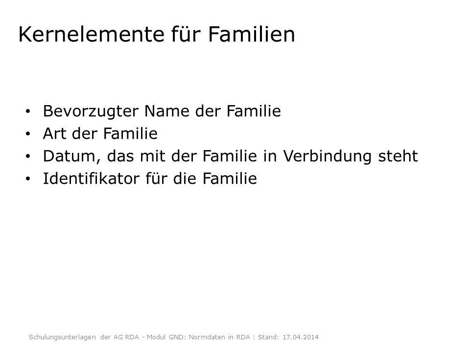 Kernelemente für Familien Bevorzugter Name der Familie Art der Familie Datum, das mit der Familie in Verbindung steht Identifikator für die Familie Sc