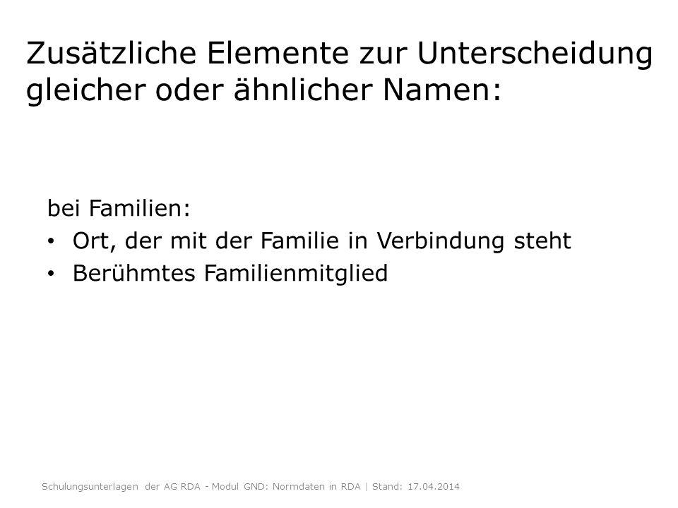 Zusätzliche Elemente zur Unterscheidung gleicher oder ähnlicher Namen: bei Familien: Ort, der mit der Familie in Verbindung steht Berühmtes Familienmi