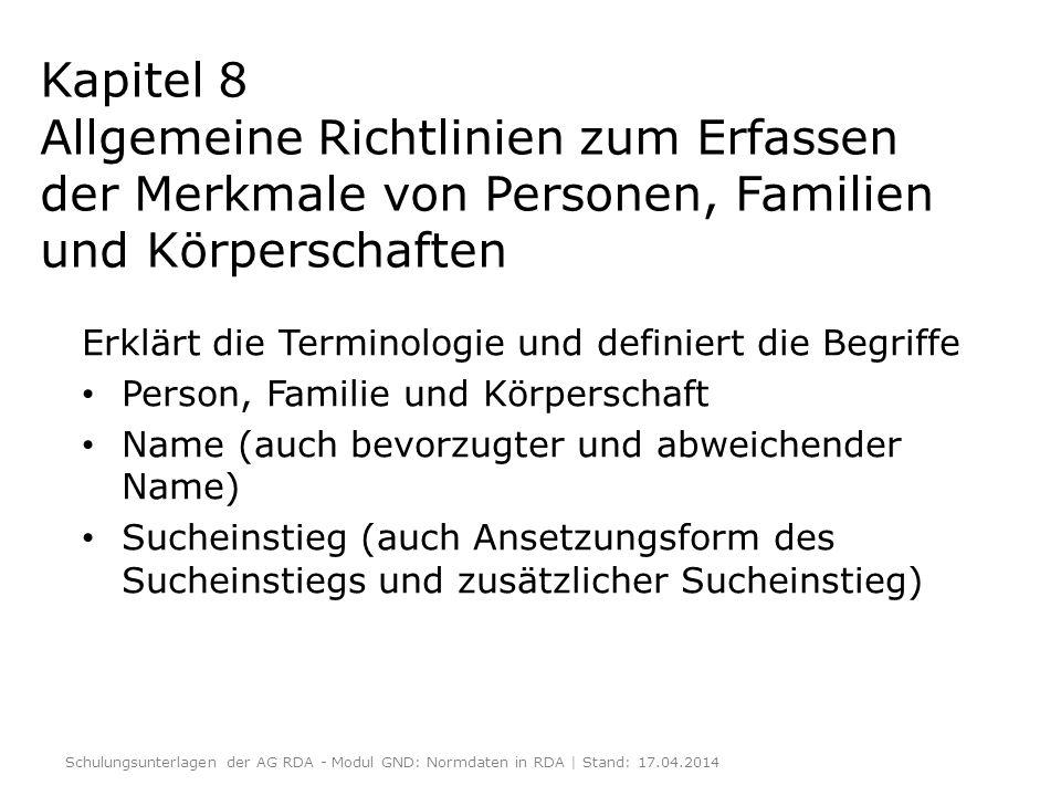 Beziehungen von Personen / Familien / Körperschaften zu Ressourcen: Kap.