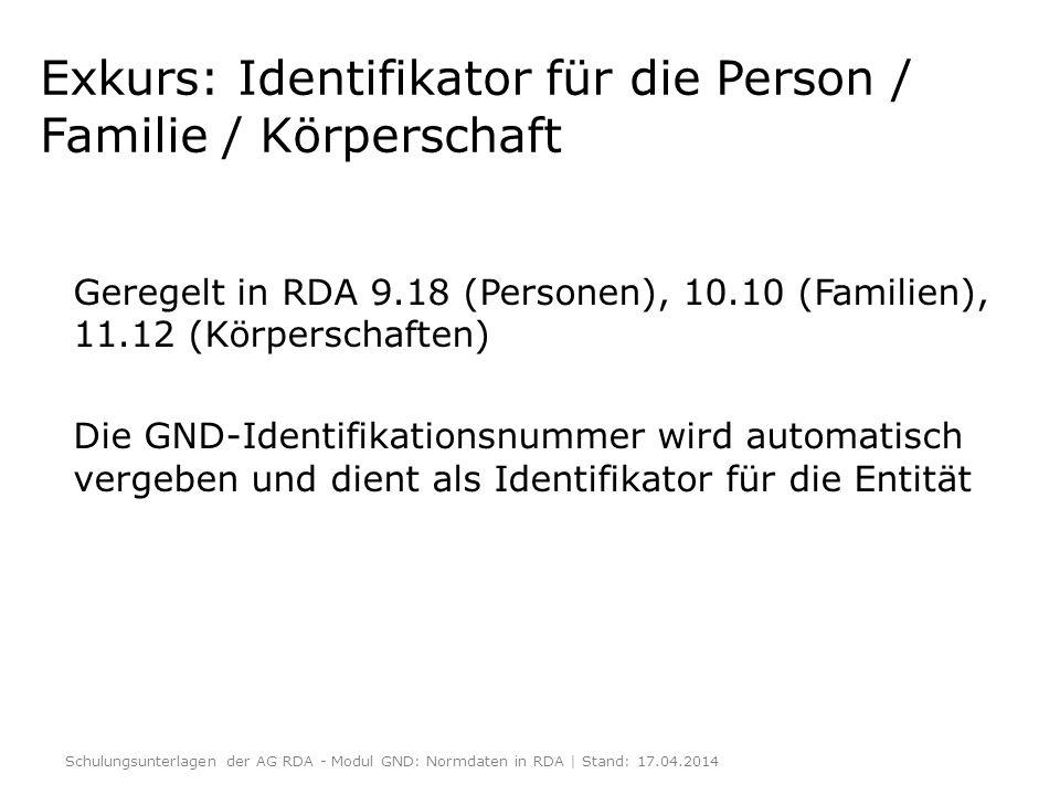 Exkurs: Identifikator für die Person / Familie / Körperschaft Geregelt in RDA 9.18 (Personen), 10.10 (Familien), 11.12 (Körperschaften) Die GND-Identi