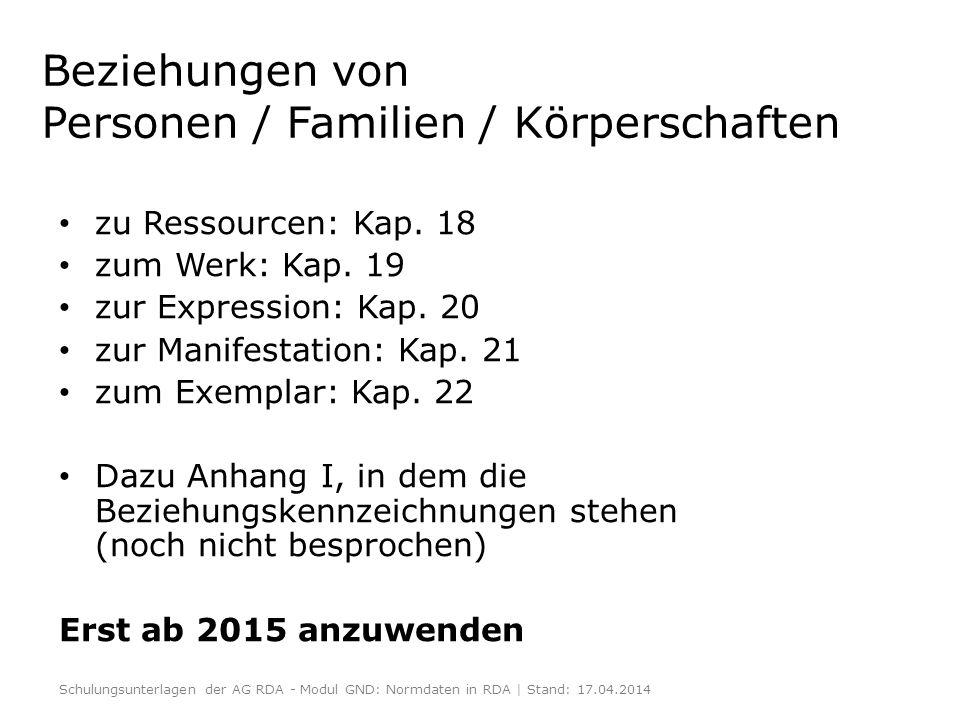 Beziehungen von Personen / Familien / Körperschaften zu Ressourcen: Kap. 18 zum Werk: Kap. 19 zur Expression: Kap. 20 zur Manifestation: Kap. 21 zum E