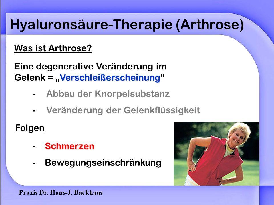 Praxis Dr. Hans-J. Backhaus Hyaluronsäure-Therapie (Arthrose) Unverzichtbarer Bestandteil in der Athrosetherapie des Facettengelenk Kniegelenk Sprungg