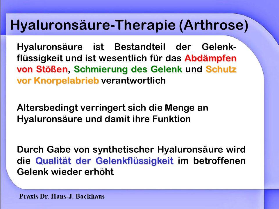 Praxis Dr. Hans-J. Backhaus Hyaluronsäure-Therapie (Arthrose) Was ist Arthrose? Eine degenerative Veränderung im Gelenk = Verschleißerscheinung -Abbau