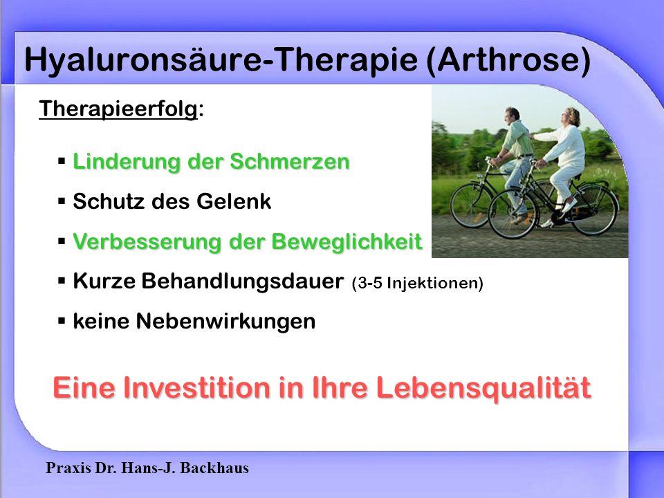 Praxis Dr. Hans-J. Backhaus Hyaluronsäure-Therapie (Arthrose) Abdämpfen von StößenSchmierung des GelenkSchutz vor Knorpelabrieb Hyaluronsäure ist Best