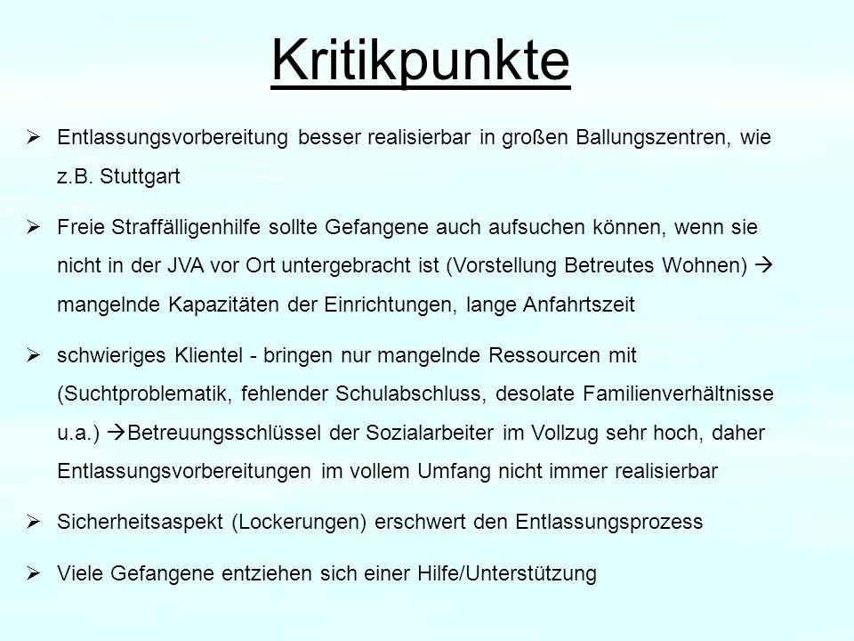 Kritikpunkte Entlassungsvorbereitung besser realisierbar in großen Ballungszentren, wie z.B. Stuttgart Freie Straffälligenhilfe sollte Gefangene auch