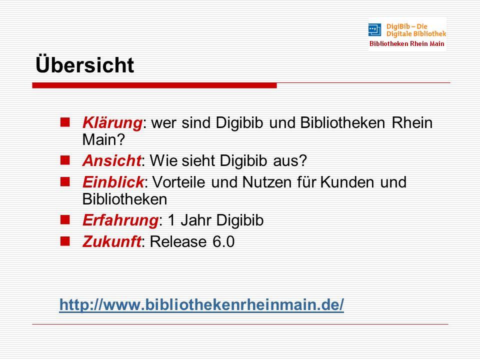 Übersicht Klärung: wer sind Digibib und Bibliotheken Rhein Main.