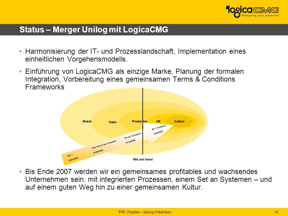 PMI Chapter – Georg Unbehaun 10 Status – Merger Unilog mit LogicaCMG Harmonisierung der IT- und Prozesslandschaft, Implementation eines einheitlichen Vorgehensmodells.