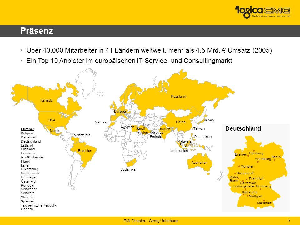 PMI Chapter – Georg Unbehaun 3 Präsenz Über 40.000 Mitarbeiter in 41 Ländern weltweit, mehr als 4,5 Mrd.
