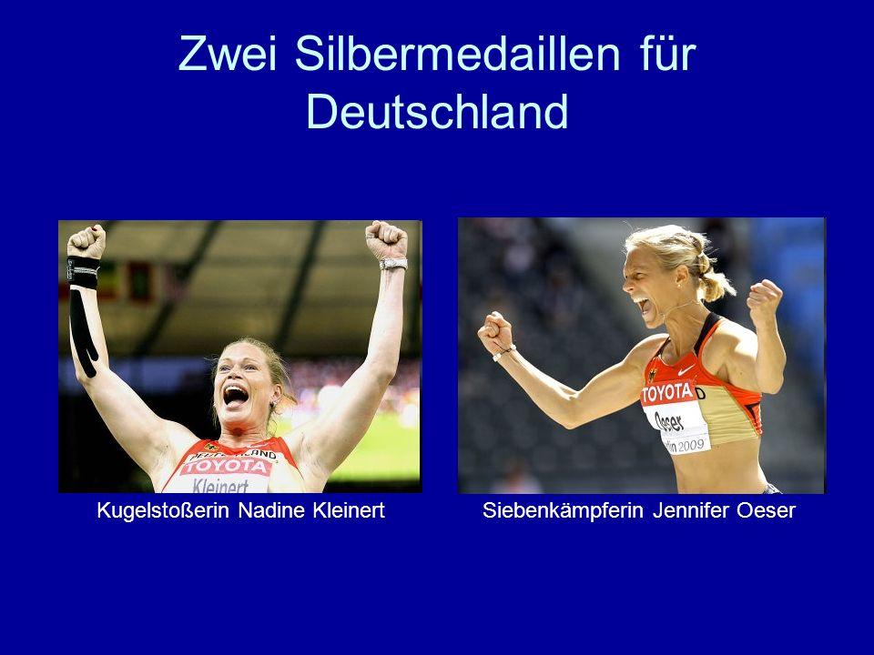 Zwei Silbermedaillen für Deutschland Kugelstoßerin Nadine KleinertSiebenkämpferin Jennifer Oeser