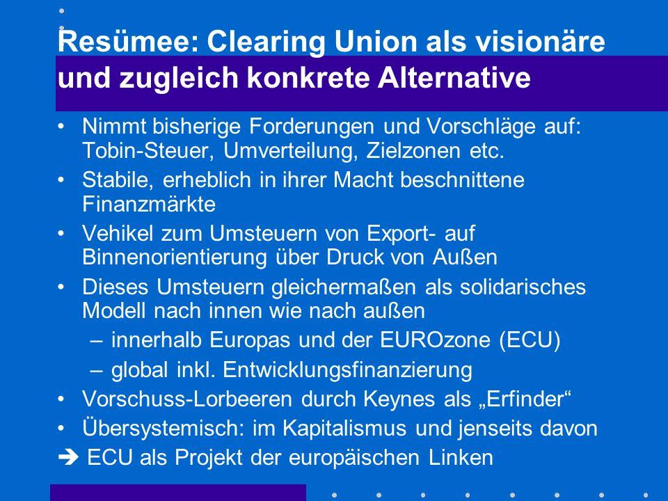 Resümee: Clearing Union als visionäre und zugleich konkrete Alternative Nimmt bisherige Forderungen und Vorschläge auf: Tobin-Steuer, Umverteilung, Zielzonen etc.