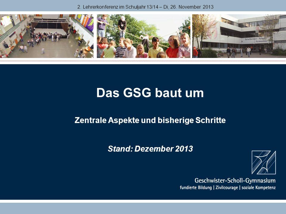 Das GSG baut um Zentrale Aspekte und bisherige Schritte Stand: Dezember 2013 2. Lehrerkonferenz im Schuljahr 13/14 – Di, 26. November 2013