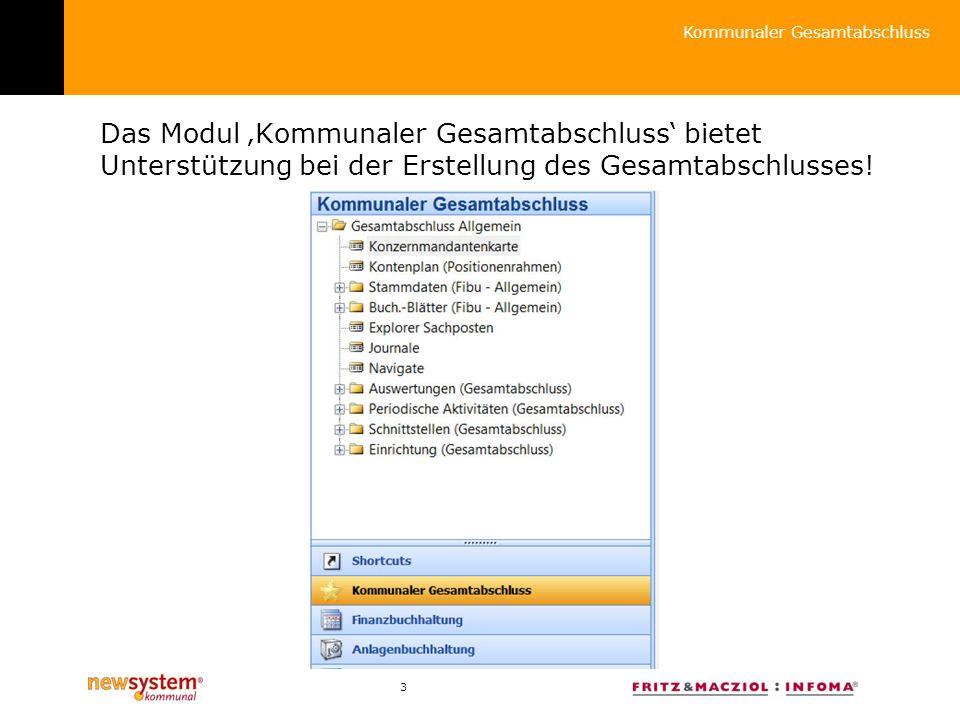 3 Das Modul Kommunaler Gesamtabschluss bietet Unterstützung bei der Erstellung des Gesamtabschlusses.