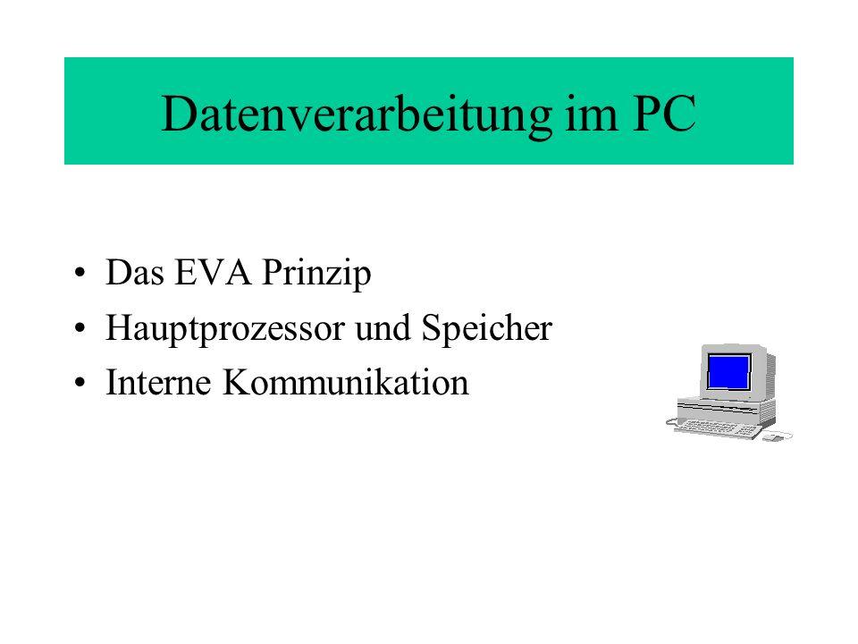 Datenverarbeitung im PC Das EVA Prinzip Hauptprozessor und Speicher Interne Kommunikation