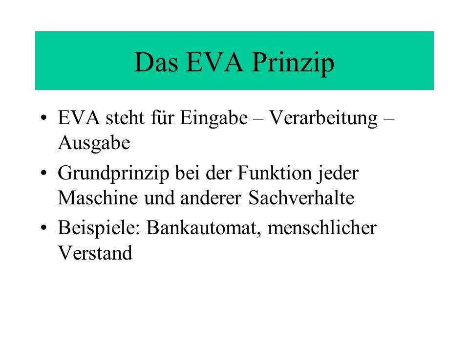 Das EVA Prinzip EVA steht für Eingabe – Verarbeitung – Ausgabe Grundprinzip bei der Funktion jeder Maschine und anderer Sachverhalte Beispiele: Bankautomat, menschlicher Verstand