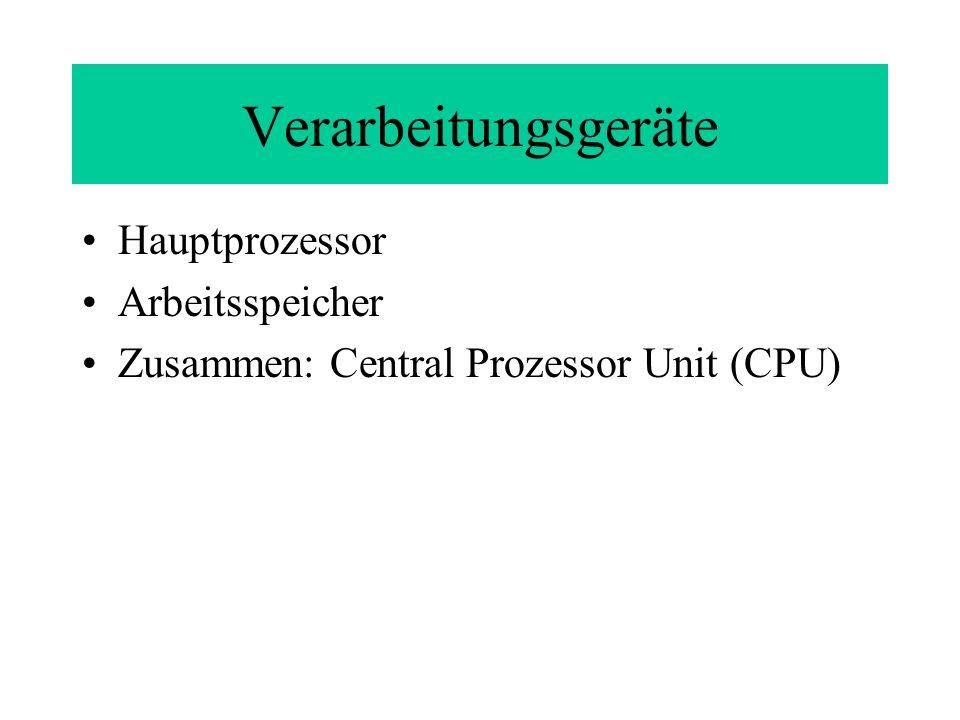 Verarbeitungsgeräte Hauptprozessor Arbeitsspeicher Zusammen: Central Prozessor Unit (CPU)