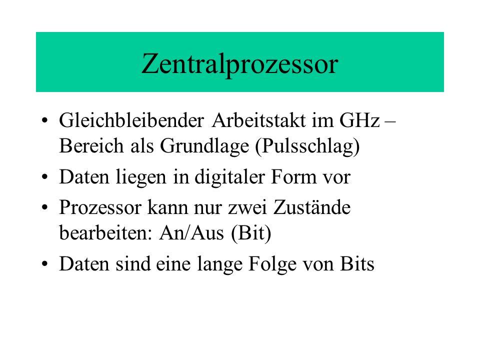 Zentralprozessor Gleichbleibender Arbeitstakt im GHz – Bereich als Grundlage (Pulsschlag) Daten liegen in digitaler Form vor Prozessor kann nur zwei Zustände bearbeiten: An/Aus (Bit) Daten sind eine lange Folge von Bits