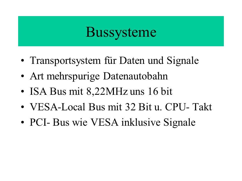 Interne Kommunikation Datenaustausch zwischen Arbeitsspeicher und Prozessor erfolgt über Bussystem Interrupts (Unterbrechungsanforderungen) signalisieren der CPU Datenflüsse Interrupt Controller lokalisieren und sortieren die Anforderungen DMA (Direct Memory Access) ist ein Kanal, der den Prozesser umgeht und direkt zum RAM führt.