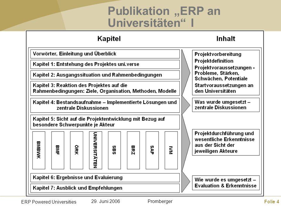 Folie 4 ERP Powered Universities Promberger29. Juni 2006 Publikation ERP an Universitäten I