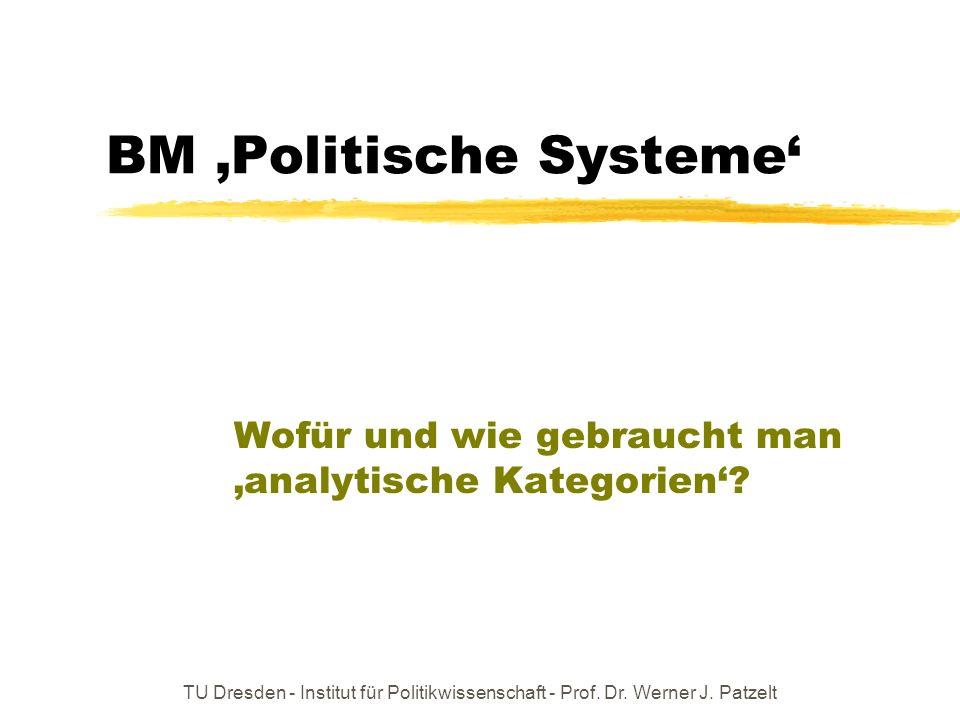 TU Dresden - Institut für Politikwissenschaft - Prof. Dr. Werner J. Patzelt BM Politische Systeme Wofür und wie gebraucht man analytische Kategorien?