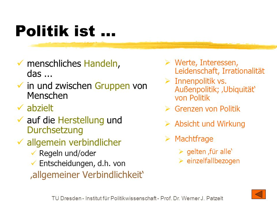 TU Dresden - Institut für Politikwissenschaft - Prof. Dr. Werner J. Patzelt Politik ist... menschliches Handeln, das... in und zwischen Gruppen von Me